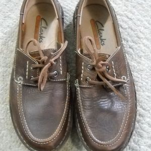 MEN'S CLARKS BROWN LEATHER LOAFERS SIZE 8M